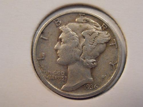 1936 P Mercury Silver Dime (36P14)