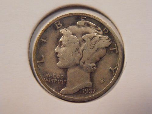 1937 P Mercury Silver Dime (37P2)
