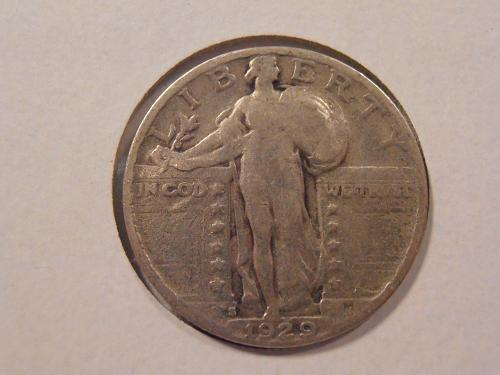1929 S Liberty Standing Quarter only 1.7 Million minted (29S4)