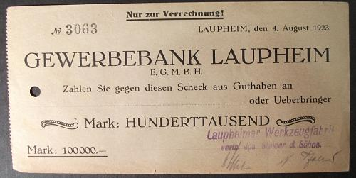 Laupheim, Germany 1923 Check for 100.00 Mark
