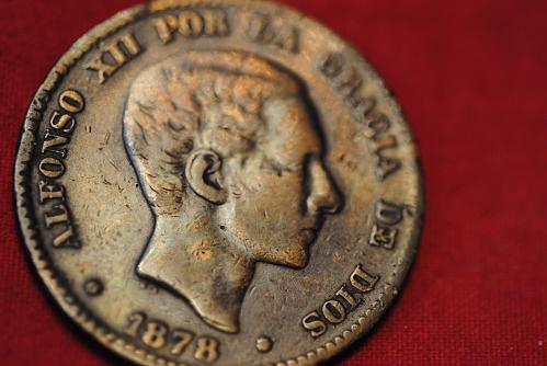 1878 Spain 10 C coin in very fine