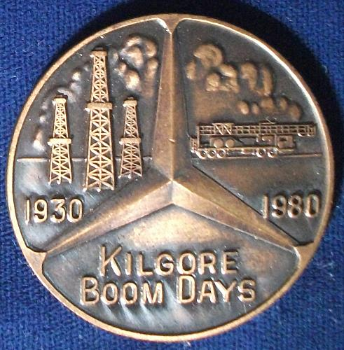 1980 Kilgore Boom Days Medal, 50th Anniv. East Texas Oil Field