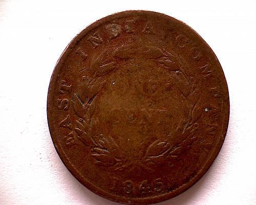 1845 STRAITS SETTLEMENTS  ONE CENT