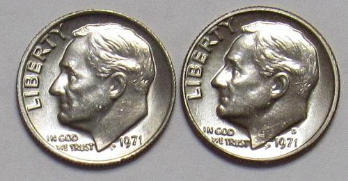 1971 P&D Roosevelt Dimes in BU condition