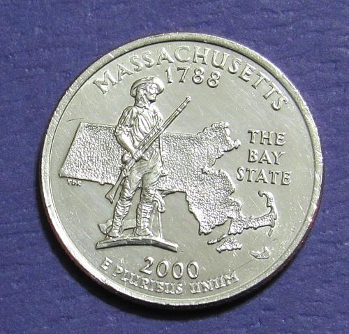 2000-D 25 Cents  Massachusetts State Quarter