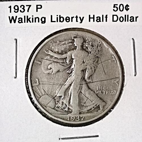 1937 P Walking Liberty Half Dollar - 6 Photos!