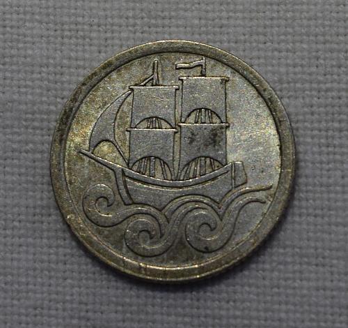 1923 Danzig 1/2 Silver Gulden