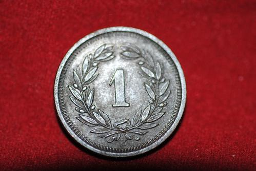 Uncirculated 1913 Switzerland 1 Rappen