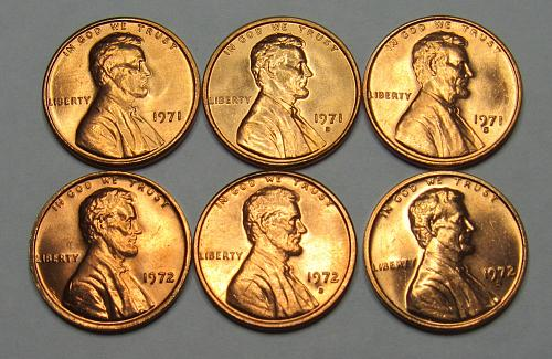 1971 & 1972 P,D&S Lincoln Memorial Cents in BU condition