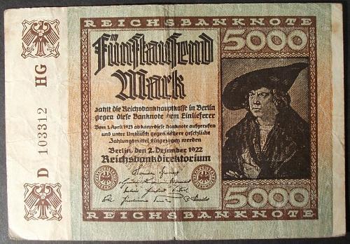 Germany P81a 5000 Mark VG