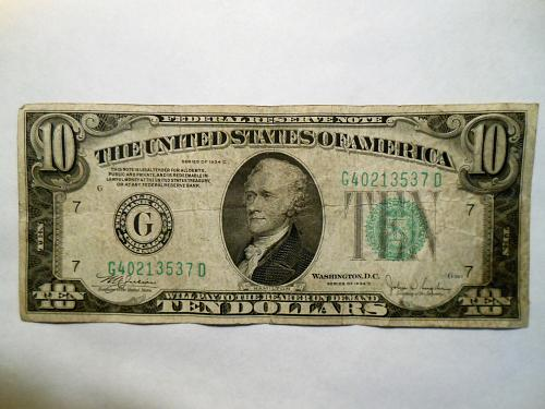 $10 1934-C Federal Reserve Note with a Raised Digit (3) Error Note on Lower Seri