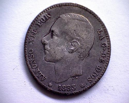"1883 (83) MS-M  SPAIN ONE PESETA ""SILVER"""