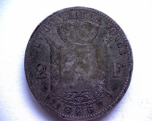 "1867 BELGIUM TWO FRANC  ""SILVER"""