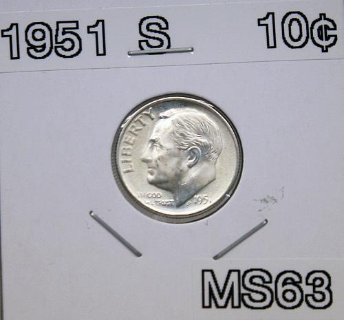 1951 S Roosevelt Dime