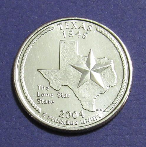 2004-P 25 Cents Texas State Quarter - Uncirculated from Mint Roll