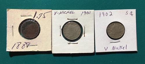 Three Liberty 5C V-Nickels 1889, 1901, and 1902