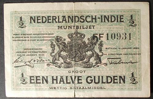 Netherlands Indies P102 1/2 Gulden Fine