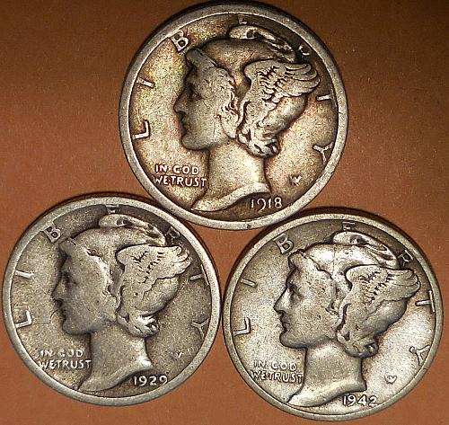 Three Mercury Dimes 90% Silver 1918 1929 & 1942