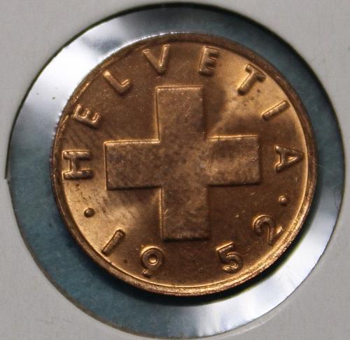 Switzerland 1952B 1 rappen