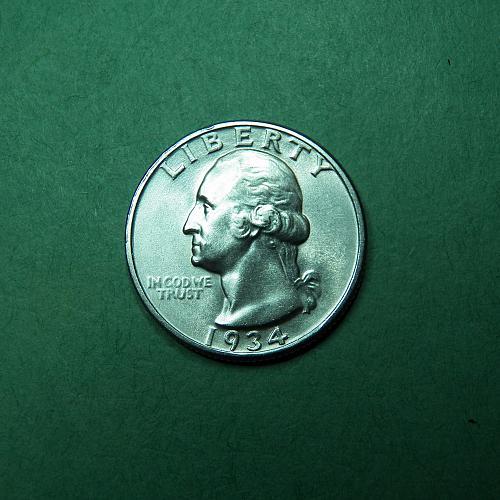 1934 P Light Motto Washington Quarter AU Coin   S33