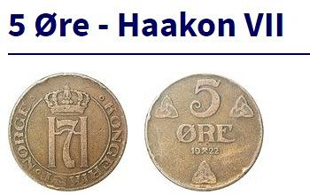 1912 5 ore Norway low minted coin 520 Thousand Crowned Haakon VII. monogram FOR
