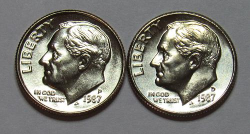 1987 P&D Roosevelt Dimes in BU condition