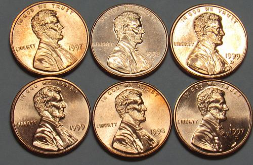 1997 - 1999 P&D Lincoln Memorial Cents in BU condition