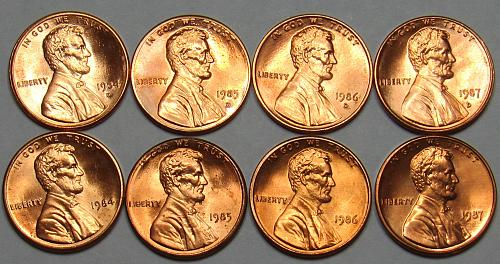 1984 - 1987 P&D Lincoln Memorial Cents in BU condition