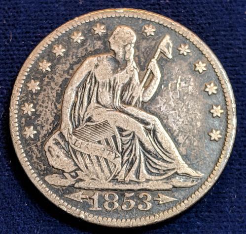 1853-0 FINE A&R SEATED LIBERTY HALF DOLLAR