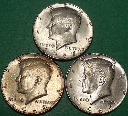 Three Kennedy Half Dollars 1967-P 1968-D & 1969-D