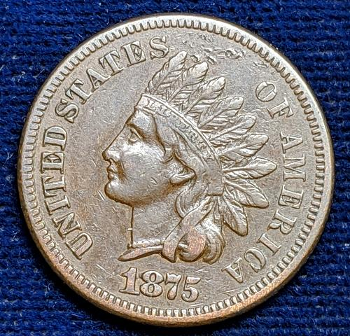 1875 FINE INDIAN HEAD CENT