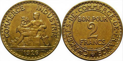 France 1926  2 Franc  Key Date      0275