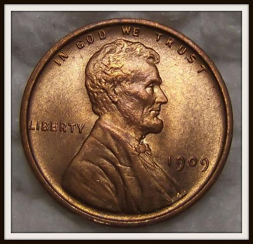 1909 VDB 1C Red Lincoln Wheat Cent (Gem BU)