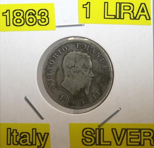 1863 Italy 1 Lira ***Silver***