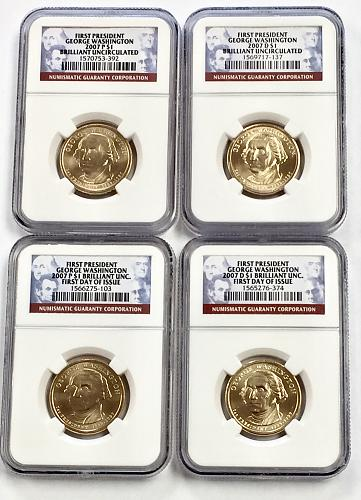 2007 P&D George Washington Presidential Dollar - NGC BU - 2 Sets