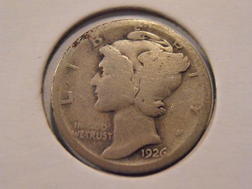 1926 S Mercury Silver Dime (26ST4)