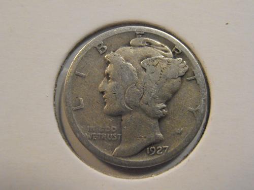 1927 P Mercury Silver Dime (27P13)