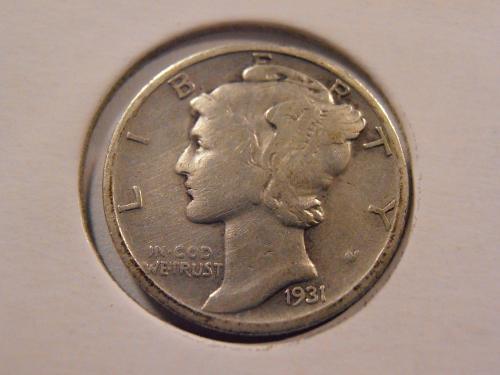 1931 S Mercury Silver Dime Low Mintage Semi-Key Coin! (31ST2)