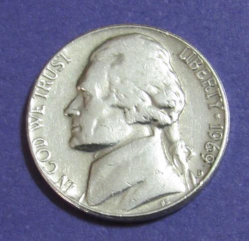 1969-D 5 Cents Jefferson Nickel