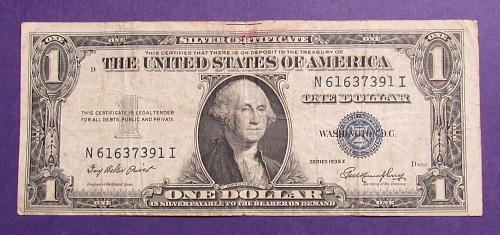 1935-E $1 US Banknote - Silver Certificate - Blue Seal