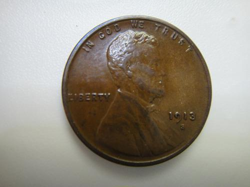 1913-S Lincoln Cent Almost Uncirculated-50 With Razor Sharp Wheat Stalks!