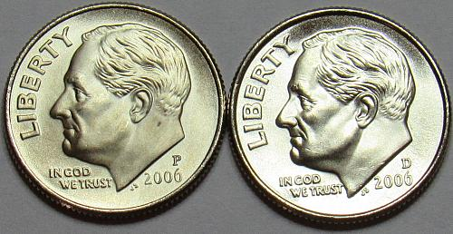 2006 P&D Roosevelt Dimes in BU condition