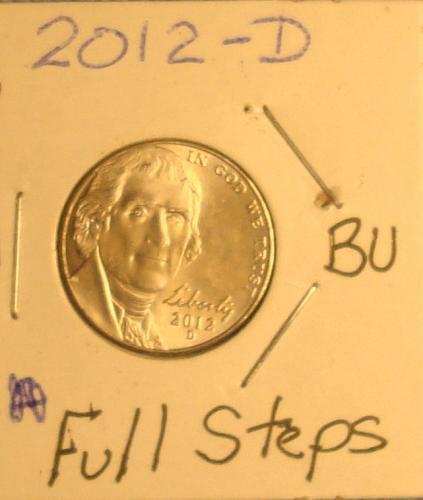 2012 D Jefferson Nickel BU FS