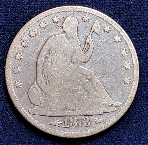 1873 ARROWS GOOD SEATED LIBERTY HALF DOLLAR..