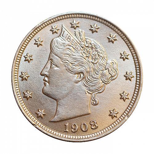 Superb - 1908 Liberty Head V Nickel - Gem BU / MS / UNC - High Grade Coin