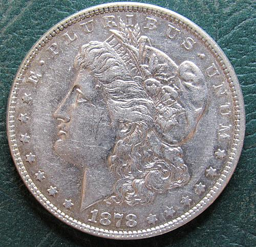1878 P Morgan Silver Dollar with 7 Tail Feathers, parallel top arrow feathers