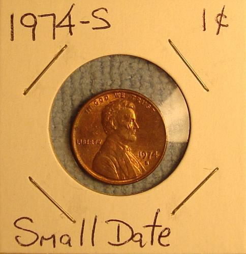 1974 S Lincoln Memorial Cent  Small Date