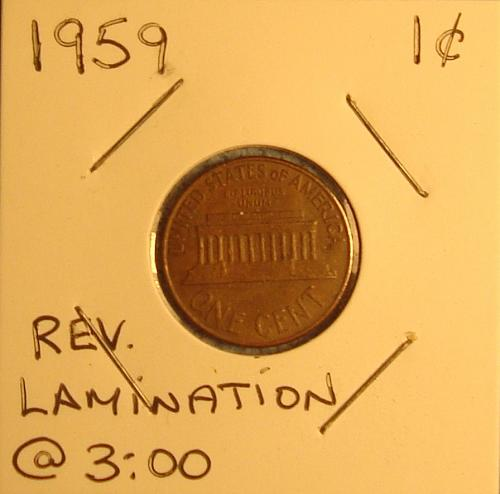 1959 P Lincoln Memorial Cent Small Cent Rev Lamination Error at 3:00