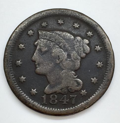 1847 Braided Hair Liberty Head Large Cent