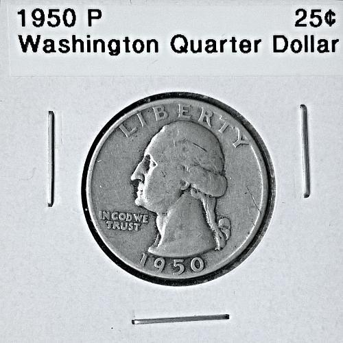 1950 P Washington Quarter Dollar - 6 Photos!